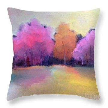 Throw Pillow featuring the painting Colorful Reflection by Michelle Abrams