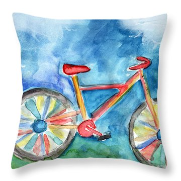 Colorful Ride- Bike Art By Linda Woods Throw Pillow