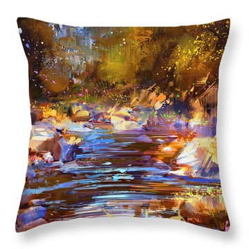 Colorful River Throw Pillow