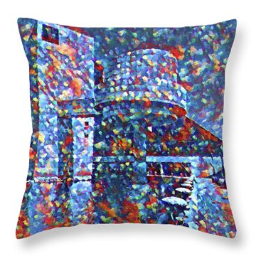 Throw Pillow featuring the painting Colorful Rock And Roll Hall Of Fame Museum by Dan Sproul