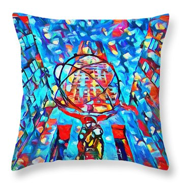 Throw Pillow featuring the painting Colorful Rockefeller Center Atlas by Dan Sproul