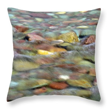 Colorful Rocks In Two Medicine River In Glacier National Park Throw Pillow