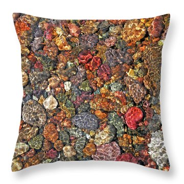 Colorful Rocks In Stream Bed Montana Throw Pillow by Jennie Marie Schell