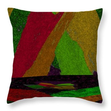 Throw Pillow featuring the drawing Colorful Room by Michelle Audas