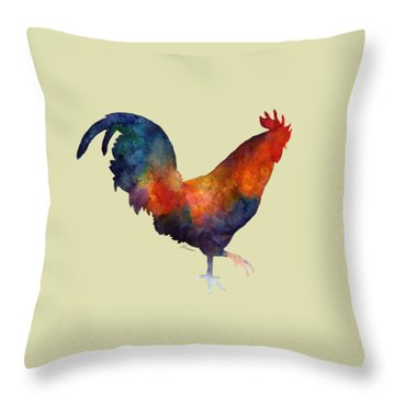 Colorful Rooster Throw Pillow by Hailey E Herrera