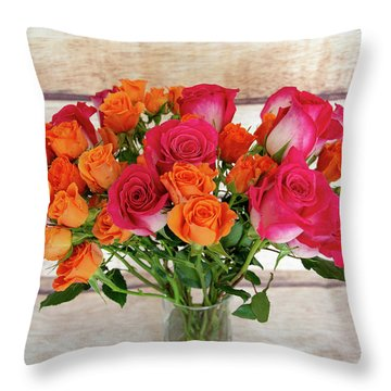 Colorful Rose Bouquet Throw Pillow