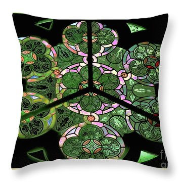 Colorful Rosette In Pink-green Throw Pillow