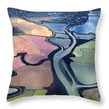 Colorful Salt Evaporation Ponds In San Franccisco Bay Area Throw Pillow