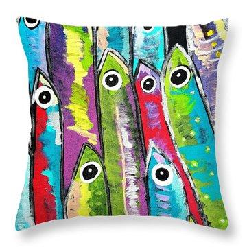 Colorful Sardines Throw Pillow by Scott D Van Osdol
