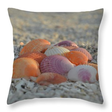 Throw Pillow featuring the photograph Colorful Scallop Shells by Melanie Moraga