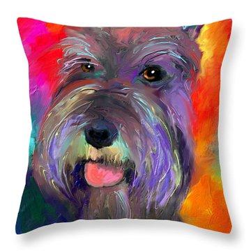 Colorful Schnauzer Dog Portrait Print Throw Pillow by Svetlana Novikova