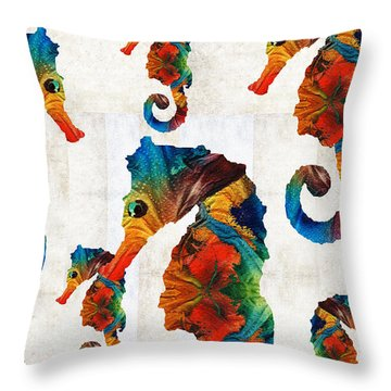 Colorful Seahorse Collage Art By Sharon Cummings Throw Pillow by Sharon Cummings