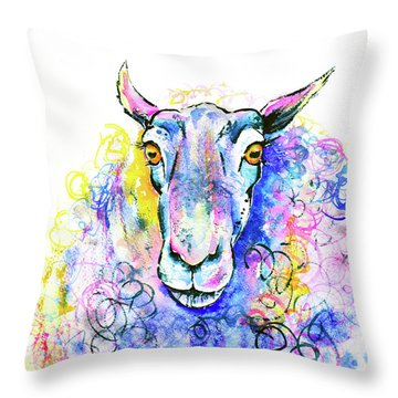 Throw Pillow featuring the painting Colorful Sheep by Zaira Dzhaubaeva
