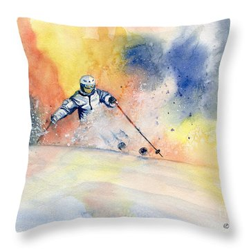 Colorful Skiing Art 2 Throw Pillow