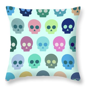 Colorful Skull Cute Pattern Throw Pillow
