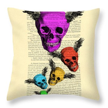 Colorful Rainbow Skull With Wings Illustration On Book Page Throw Pillow