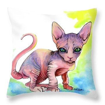 Colorful Sphynx Throw Pillow