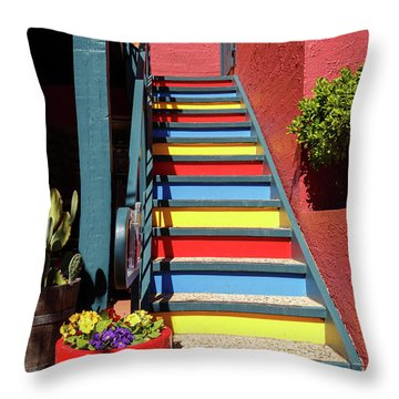 Throw Pillow featuring the photograph Colorful Stairs by James Eddy