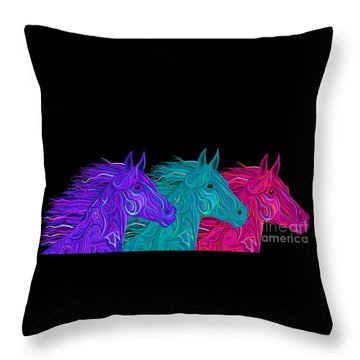 Throw Pillow featuring the drawing Colorful Stallions  by Nick Gustafson