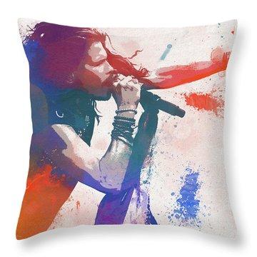 Colorful Steven Tyler Paint Splatter Throw Pillow