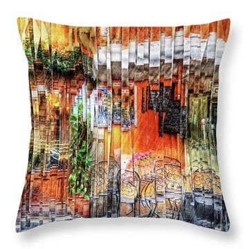 Colorful Street Cafe Throw Pillow
