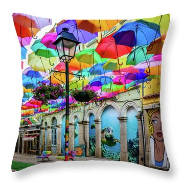 Colorful Street Throw Pillow by Marco Oliveira