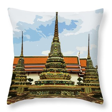 Colorful Stupas At Wat Pho Throw Pillow