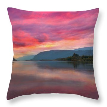 Colorful Sunrise At Columbia River Gorge Throw Pillow by David Gn