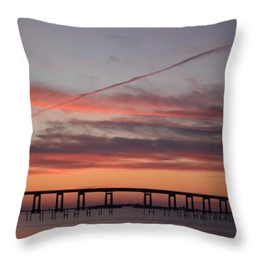 Colorful Sunrise Over Navarre Beach Bridge Throw Pillow by Jeff at JSJ Photography