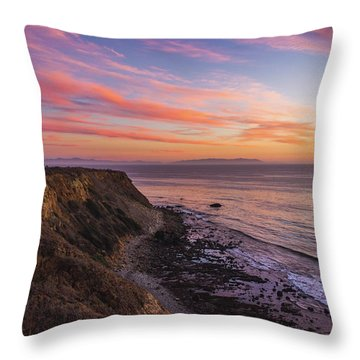 Colorful Sunset At Golden Cove Throw Pillow