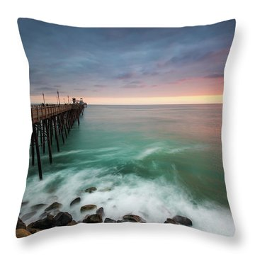 Colorful Sunset At The Oceanside Pier Throw Pillow