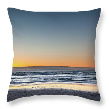 Colorful Sunset Over A Desserted Beach Throw Pillow
