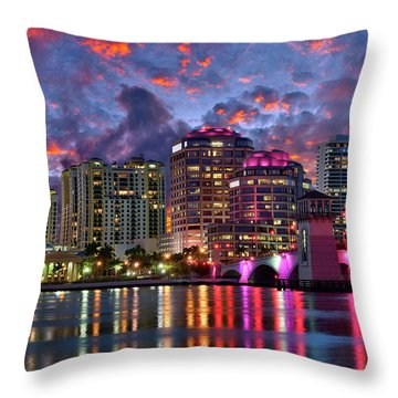 Colorful Sunset Over Downtown West Palm Beach Florida Throw Pillow