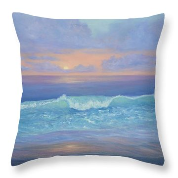 Cape Cod Colorful Sunset Seascape Beach Painting With Wave Throw Pillow