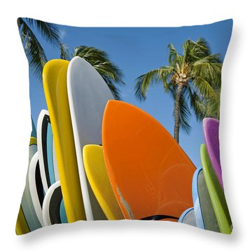 Colorful Surfboards Throw Pillow by Ron Dahlquist - Printscapes