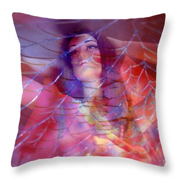 colorful surreal woman mannequin photography - Desdemona Throw Pillow