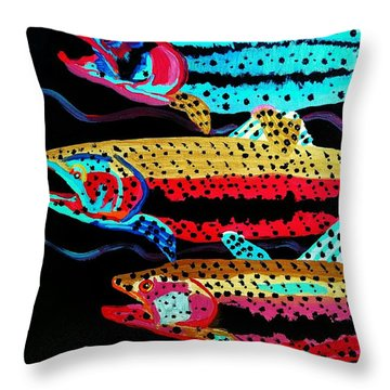Colorful Swimming Trout Throw Pillow by Scott D Van Osdol