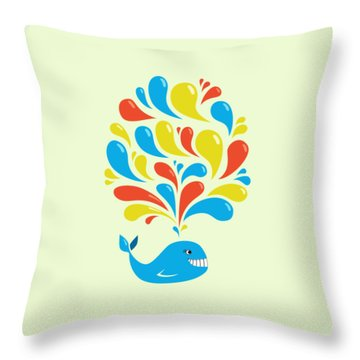Colorful Swirls Happy Cartoon Whale Throw Pillow