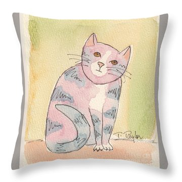 Colorful Tabby Throw Pillow by Terry Taylor