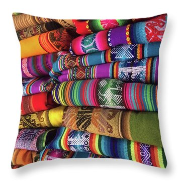 Colorful Tablecloths Throw Pillow