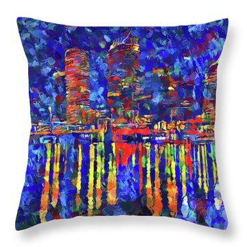 Colorful Tampa Bay Skyline Throw Pillow
