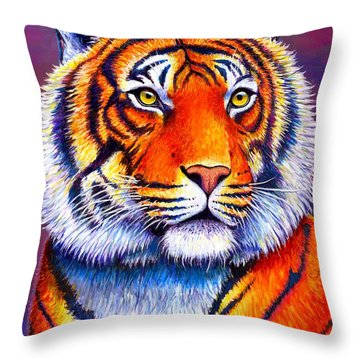 Fiery Beauty - Colorful Bengal Tiger Throw Pillow