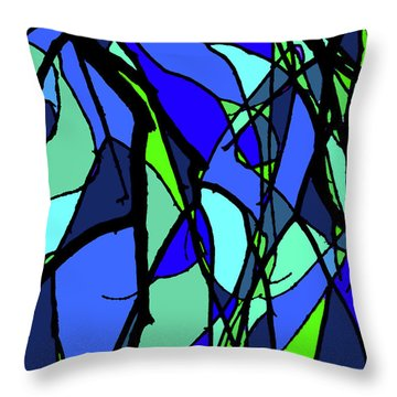 Colorful Tree Abstract Blue Throw Pillow