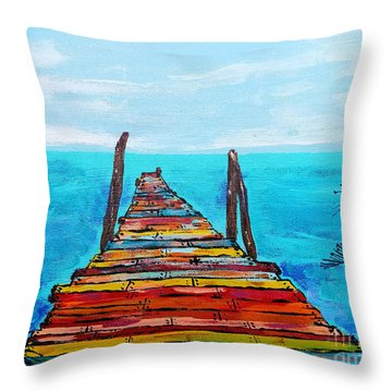 Colorful Tropical Pier Throw Pillow