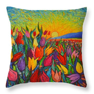 Colorful Tulips Field Sunrise - Abstract Impressionist Palette Knife Painting By Ana Maria Edulescu Throw Pillow