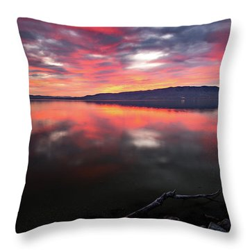 Colorful Utah Lake Sunset Throw Pillow