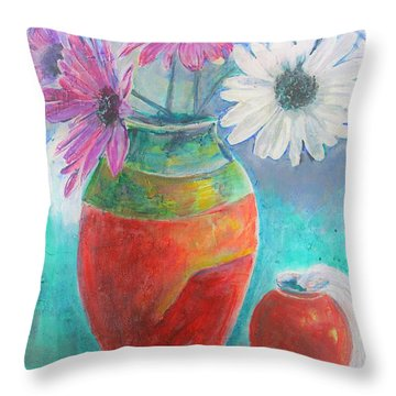 Colorful Vases And Flowers Throw Pillow