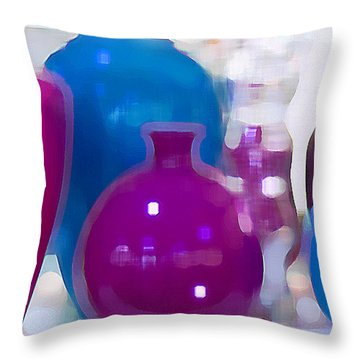 Colorful Vases II - Still Life Throw Pillow