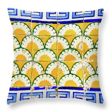 Colorful Vintage Portuguese Tiles Throw Pillow