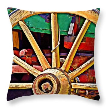 Throw Pillow featuring the photograph Colorful Wagon Wheel- Fine Art by KayeCee Spain